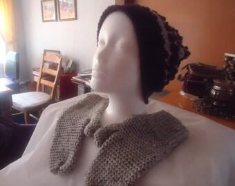 Handmade crocheted purple and gray hat and mitten set