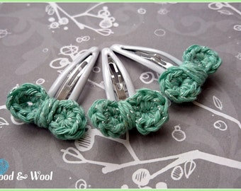 Green Hair slides, small bow slides, bow, girl gift, stocking filler, sparkly