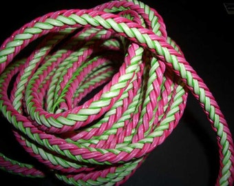 SALE - interlace 6mm wide - pink green - per 10cm