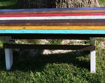 Color-Striped Reclaimed Wood Bench