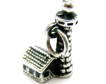 Antique Lighthouse Pendant Charm .925 Sterling Silver