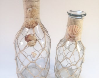 2 Costal Beach Net Seashell Vases Glass Jars Unique Two Home Table Shell Altered Mixed Media Decor
