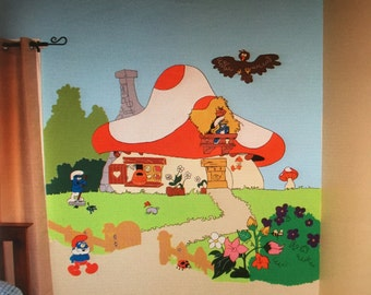 Smurf Village Mural, Nursery Decal, Large Wall Decal, Kids Room, Wall Art Decor, Wall Mural