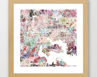 Baltimore map | Baltimore Painting | Baltimore Art Print | Baltimore Poster | Maryland map  | Flowers compositions