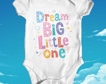 Dream Big Little One Baby Bodysuit | Baby Shower Gift | Cute Baby Clothes | Slogan Baby Bodysuit | New Arrival | Newborn Baby Clothes