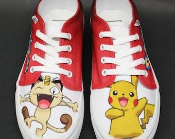 Custom Painted Kicks (Vans): Pokemon Meowth & Pikachu