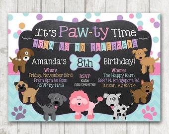 Printable Puppy Birthday Invitation Pawty invitation Chalkboard Paw-Ty Invitation Dog Invitation Paw-ty Puppy Birthday Chalkboard Invite