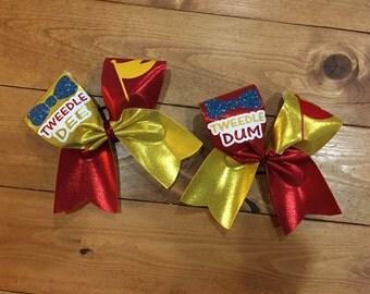 Tweedle dee / tweedle dum cheer bow set