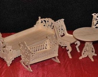 Dollhouse miniature furniture set Barbie size: Dollhouse bedroom, cradle for dolls