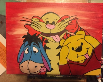 Pooh and Friends Silly Faces, Winnie the Pooh, Pooh Bear and Friends, Eeyore, Tigger, Silly, Gift, Painting, Art, Boys, Girls, Men, Women