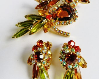 DeLizza And Elster Juliana Figural Parrot Brooch On Branch And Matching Earrings Set