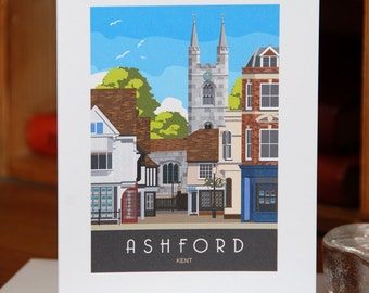 Greetings Card of Ashford with St Mary the Virgin Church