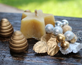 Star Shaped 100% Pure Beeswax Candles-4 pack