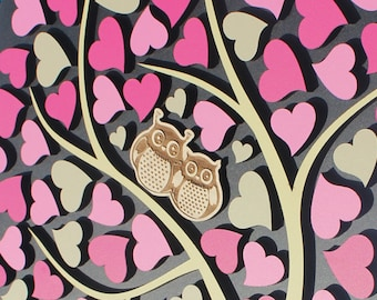 Wedding Guest Book Alternative Wedding 3D guest book Wood Rustic wedding guestbook Owls in love Wedding Tree of Hearts Pink CUSTOM COLORS