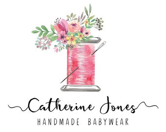 Premade Logo Design, Sewing Floral Logo, Sew Stitch Tailoring Handmade Clothes logo, Watercolor Custom Business Card Branding PL115