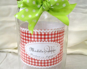 Free shipping-glass Jar with decorative border country in corn pasta