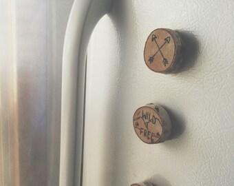 Set of 4 Woodburned Magnets