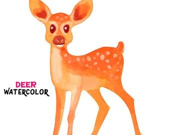 Deer Watercolor clipart
