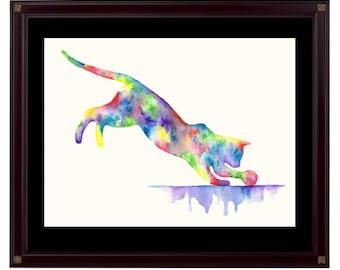 "Abstract Watercolour Cat Print - ""Gotcha"""