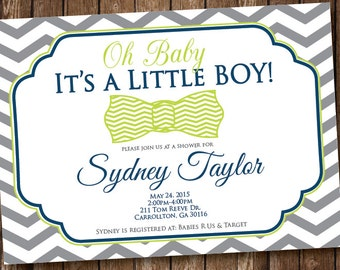 Oh Baby It's a Boy! Baby Shower Invitation  Blue and Green