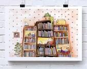 Booklovers, illustratie, giclée print, fantasie, kinderen, kunstprint, a4 poster, aquarel en inkt, kunst