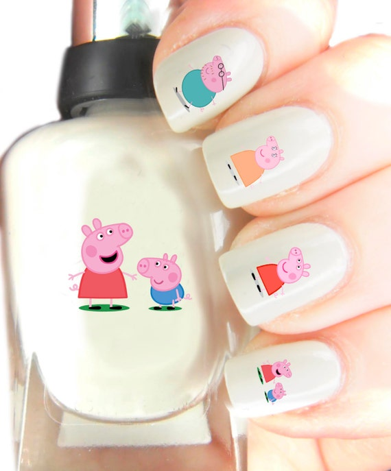 Pig Nail Art: Peppa Pig Nail Art Decal Stickers . Nail Art By