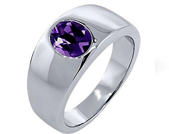925 Solid sterling Silver Natural Faceted Amethyst Gemstone Ring Size 8 To 12