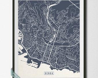 Genoa Print, Italy Poster, Genoa Map, Genoa Poster, Italy Map, Italy Print, Street Map, Office Art, Home Decor, Dorm Wall Art