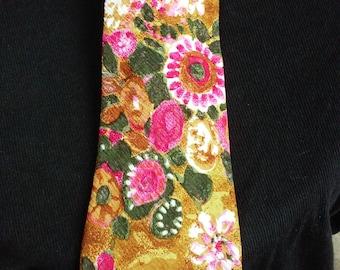 Men's Vintage Brioni Flower Print Tie, Made in Italy