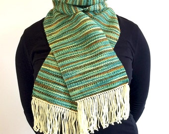 Handwoven soft scarf of handspun wool and extrafine merino in woodland greens and earthy browns