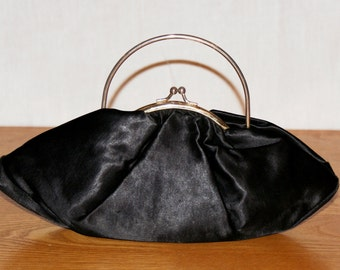 Original Vintage from the Sixties! Shiny Black Purse Lined clutch bag Original Black shiny fabric Lined Vintage Woman 60 Years