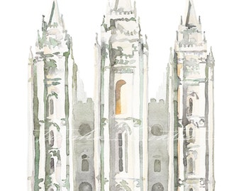 LDS Salt Lake Temple Watercolor Print