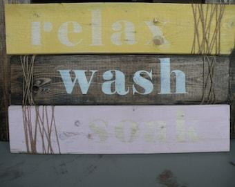 Set of 3 bathroom signs