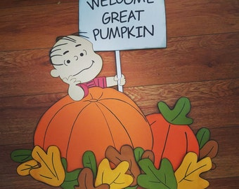 Linus Great Pumpkin Wall Sign for Halloween Super Big 3D  Decorations Trunk Or Treat Idea