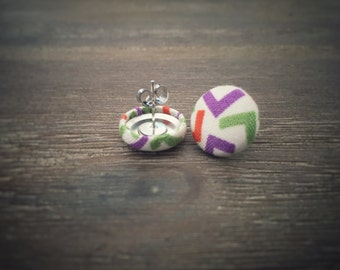 Purple Green Orange Earrings. Geometric Pattern Fabric. Handmade Earrings. Fabric Covered Button Earrings. Stud Earrings. Clip On Earrings.
