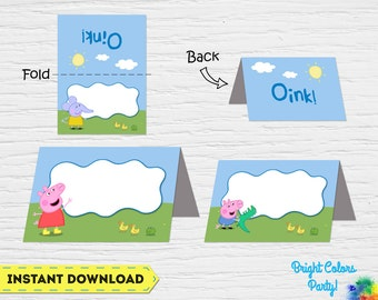 Peppa Pig food cards, Peppa Pig food tents, Peppa Pig food labels, Peppa Pig buffet. 8 different cards and instant download!