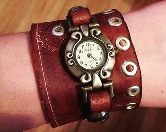 Women's Steampunk Leather Watch Cuff