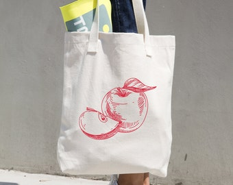 Apples Tote Bag - Farmer's Market Bag - Market Tote - Reusable Bag - Reusable Shopping Bag - Grocery Bag - Bull Denim Tote - Sturdy Tote