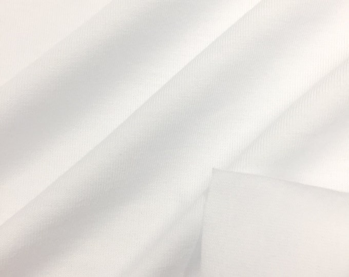 Jersey Fabric With Spandex (Wholesale Price Available By The Bolt) USA Made Premium Quality - 3086P White - 1 Yard