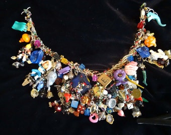 Very special, complex, fun and funky charm cluster necklace