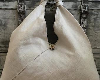 Natural linen bag XXL 54x54 cm, azuma bukuro, bento bag, Ecofriendly bag