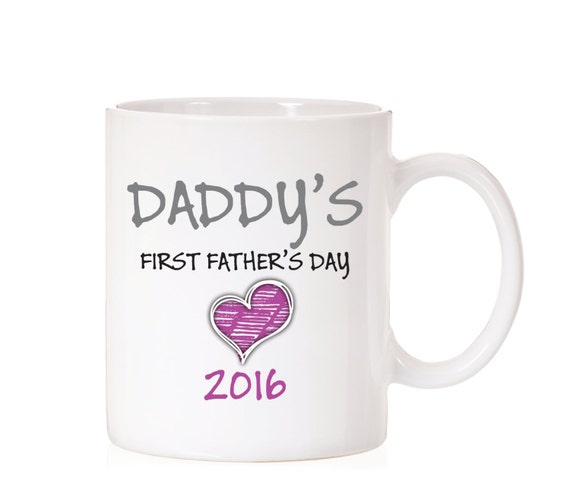 First Father's Day | Father's Day Mug | Gift For Dad | From Daughter | Daddy First Father's Day | Gift From Child | Daddy Mug  | Pink