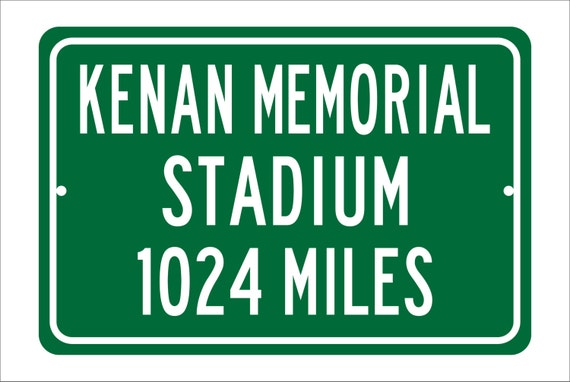 Custom College Highway Distance Sign to Kenan Memorial Stadium | Home of the University of North Carolina Tar Heels | UNC Tar Heels Football