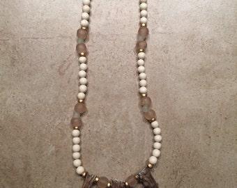 Deer antler necklce, Triple antler tip beaded necklace