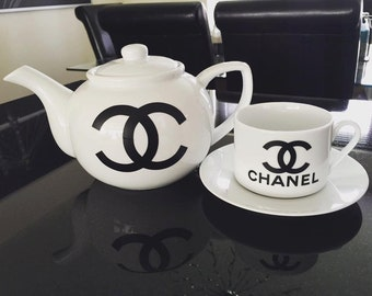 Chanel Inspired Teapot & Teacup