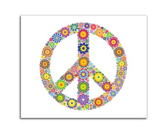 Cool Retrol Peace Sign HD Canvas