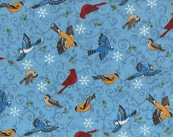 Birds,Share the Joy, Moda Fabric on Blue