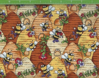 Happy Busy Honey bees and their hives,Blank Quilting