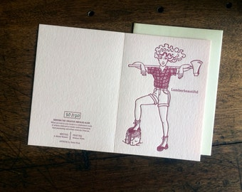 Letterpress Greeting Card: Lumberbeautiful