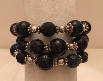 Black Elegance Wrap Around Bracelet One Size Fits All/Beaded Bracelet